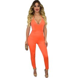Wholesale Womens Orange Jumpsuit - Wholesale-2016 Summer Long Skinny Solid Rompers Womens Jumpsuit Deep V-Neck Backless Sleeveless Sexy Spaghetti Strap Bodysuit Overalls