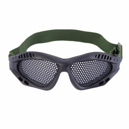 Wholesale Tactical Safety Goggles - 1pc Tactical Goggles Outdoor Eye Protective With Metal Mesh for CS Game Airsoft Safety Free Shipping