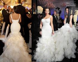 Wholesale Kim Kardashian Mermaid White Dress - Elegant Kim Kardashian Mermaid Luxury Wedding Dresses Train Long Spaghetti Sexy Organza Contoured Floor Length Bridal Dress For Bride