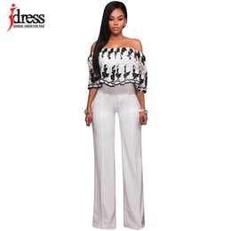 Wholesale Floral Strapless Jumpsuit - Wholesale- IDress Fashion 2017 New Strapless Floral Pattern Loose Women Jumpsuit Embroidery Flowers Top White Long Pants Ladies Romper