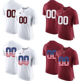 Wholesale flag football jerseys - Customized college alabama jersey red white us flag fashion men adult size custom football jerseys 2 jalen hurts stitched with name on back