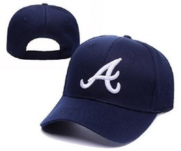 Wholesale Atlanta Caps - New MLB Atlanta Braves Medium Raised Embroidery Letter Adjustable Hat Structured Classic High Crown Baseball Cap XD