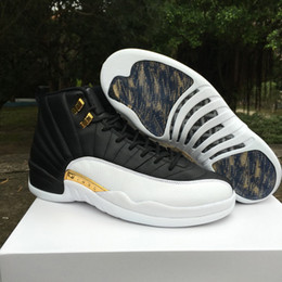 Wholesale Rubber Wings - 2018 high quality 12 XII wings men Basketball Shoes 12s Discolor Gold Wings Black Golden 12s Sports Sneakers Boots
