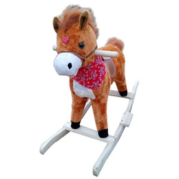 Wholesale Riding Horses Toys - The New Electric music wooden plush horse for children Hot Selling Rocking horse toy tail and mouth can move Luminescence Music trojan horse