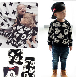 Wholesale Baby Boy Fall Clothing - 2016 New Boys Fall Winter Cartoon Christmas Outfits Baby Cute Fashion Fall Wholesale Clothes Set Kids Toddler Boutique Outfits