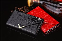 Wholesale Envelope Leather Wallet Iphone Cases - For iPhone 6 6S 6Plus Cell Phone Case Cover Envelope Style Crocodile Pattern PU Leather Case Wallet Case With 5 Colors