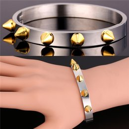 Wholesale Bullet Rivets - U7 Punk Rivet Stainless Steel Bangle For Men Jewelry New Fashion Accessories Steampunk Rock Style Rivet Bullet Bracelets Bangle Perfect Gift