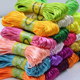 Wholesale Thread Braided Bracelets - 20 Meters roll 2.5mm Satin Silky Nylon Cord For Shamballa Bracelet Jewelry Craft DIY Rattail Beading Chinese Knot Macrame Braided Thread