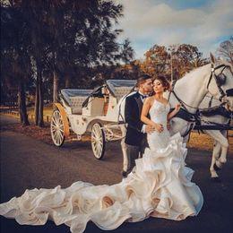 Vestidos de noiva sem trombeta on-line-Vestido De Novia Querida frisado Lace Ruffles Sereia Vestido de noiva sem mangas backless trompete vestidos De Noiva 2018 berta barato