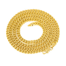 Wholesale Mens Jewelry Gold Chains - 5mm 30inch 3mm 24inch Real 24K Yellow Gold Rhodium Plated Solid Cuban Curb Chain Mens Necklace Hip Hop Jewelry Star Style
