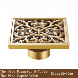 Wholesale Brass Shower Drain - 10*10cm New Arrival Antique Bronze finish Fashion design Euro Square floor drain shower drain bathroom furniture T Style Art Carved Brass