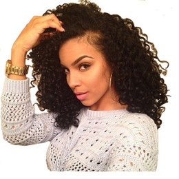 Wholesale Human Lacefront Wigs - Malaysian Curly Wigs 7A Grade Malaysian Virgin Human Hair Glueless Kinky Curly Lace Front Wig Lacefront Wig For Black Women