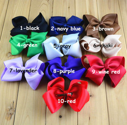 Wholesale Thread For Hair - New 5inch big Hair bow clip 19 colors screw thread Bow Hairpin cotton Duckbill clip for baby Barrettes children hair accessories Free DHL