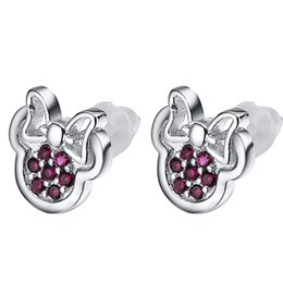 Wholesale New Minnie - New classic Style 925 sterling Silver Minnie earring red Crystal For Women Wedding Birthday party Earrings Fashion Jewelry