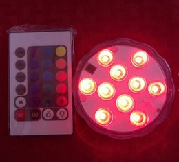 Wholesale Aquarium Decorations Free Shipping - 10LED IR Remote Controlled RGB Multicolor Submersible LED Light for Aquarium Party Home Ligthing 12 Pieces Lot Free Shipping