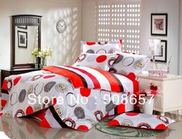Wholesale Cheap Girls Comforters - red brown circle stripes printing cotton bedding cheap girls bed linens bed set queen full quilt duvet covers sets for comforter
