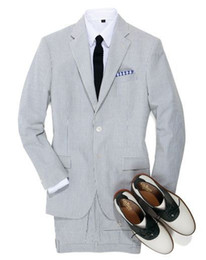 Wholesale Mens Grey Pinstripe Suit - 2016 latest Design white and Grey stripes seersucker tuxedos for men Groom wear  wedding suits for mens(jacket+pants+Bowtie)