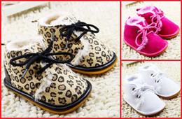 Wholesale Children Leopard Snow Boots - Leopard fashion baby winter snow boots 2016 new lace cotton children warm boots 11CM 12CM 13CM boys and girls boots 12pair 24pcs B3