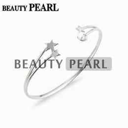 Paramètres de blocs en Ligne-3 pièces Étoile Bracelet Base Perle Semi Montures Étoile 925 Argent Sterling Blanks Manchette Bracelet Paramètres