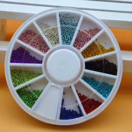 Wholesale Nails Jewerly - Wholesale- 12 Colors 3D Metal Tiny Circle Beads Crystal Caviar Rhinestones DIY Wheel Nail Art Tips Decorations Phone Manicure Tools Jewerly