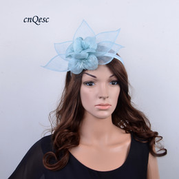 ea9ad5890ea blue kentucky derby fascinator hats NZ - NEW ARRIVAL pale blue sinamay  fascinator with sinamay flowers