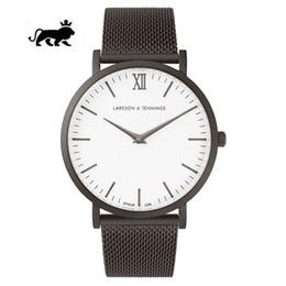 Assista mulher de aço resistente à água on-line-2019 Novo 40mm mens relógios designer de relógio de quartzo de luxo relógios mulheres relógio de aço inoxidável preto resistente à água LARSSON JENNINGS LJ relógios