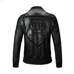Wholesale Leather Fashion Biker Jacket Men - Free shipping 2016 New Men High Quality PU Leather Jacket Coat Black Fashion Skull Motorcycle Biker Male