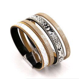 Wholesale Leather Wristbands Snaps - Women PU Leather Wristband Bracelets High Quality Serpentine Chain Charm Bracelets Magnetic Snap Bangles For Girl Fashion Jewelry Gifts