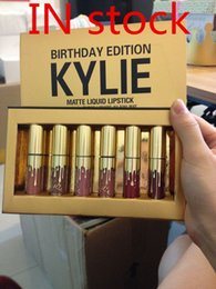 Wholesale Birthday Boxes - 1 box Dropshipping Metal kylie lip gloss Cosmetics by Kylie Jenner Limited Birthday Edition Gloss In POPPIN 6 Colour set