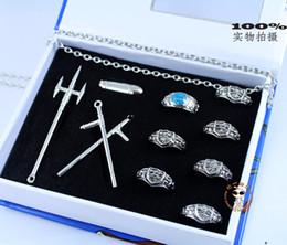 Wholesale Hitman Reborn Rings - Wholesale-Katekyo Hitman Reborn Vongola 7 Ring Necklace Set Cosplay Free Shipping