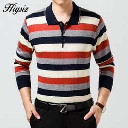Wholesale Green Cashmere Sweater Dresses - Wholesale-Free Shipping Autumn New Knitted Cashmere Wool Sweater Men Business Dress Turn-down Collar Pullover Men Striped Pull Homme 66163