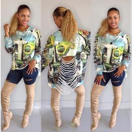 Wholesale Cotton Womens Shirts Classic - 2016 Classic Fashion Womens T-shirt Sexy Long-sleeved hole printed Dress Tops Tee Lady's Loose Cotton fashion Big girl Shirt dress