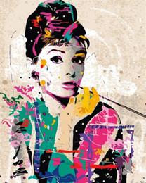 Audrey Hepburn dipinta a mano su tela dipinto ad olio dipinto su tela di alta qualità Qudlity Canvas Home Decor Art Decor Mulitiple Taglie da