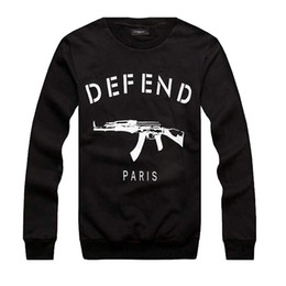Wholesale Ak47 Cover - Wholesale-New men women 3D print letters DEFEND PARIS sweatshirts AK47 Automatic rifles pullover Hiphop Sweatshirts Hoodies sweats Tops