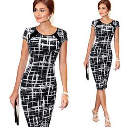 Wholesale Women Fashionable Mini Dresses - Trendy Summer 2016 Scoop Collar Soft Brief Black Dresses Elastic Short Sleeve Fashionable Printed Sheath Women Midi Dress
