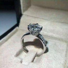 Wholesale Moissanite Diamond Rings - The import of moissanite 1ct 18k white gold six prong setting moissanite and diamond ring lady