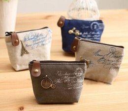Wholesale Paris Wallet Zipper - 4Models Retro Paris 10*8CM Canvas Lady Girl's HAND Coin Purse & Wallet Pouch Case BAG Women Bags Pouch Makeup Holder BAG Handbag