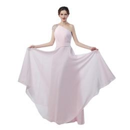 Wholesale One Shoulder Gold Homecoming Dresses - Dubai Evening Dresses Vestidos De Noite Longos 2017 Pink Chiffon One Shoulder Beaded Prom Dresses Long Party Gowns