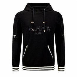 Wholesale Casual Male Jackets - 2016 Mens Balmain High quality Autumn Winter male plus size fashion sport jacket, Casual with hood male skulls tracksuit B843 M-XXL