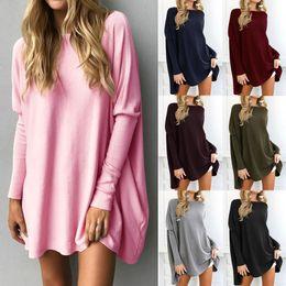 Wholesale Womens Xl Sweater Dress - Oversized Womens Long Batwing Sleeve Knit Sweater Jumper Sweatshirt Pullover Top Long Sleeve Jumper Mini Dress Pullover