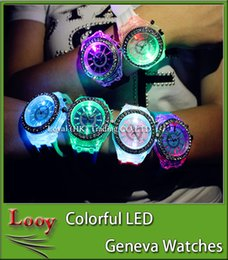 Wholesale Geneva Led Light - LED Light Glow Geneva Watches diamond crystal stone Led Light watch unisex silicone jelly candy For mens women Wristwatches Sports Watches