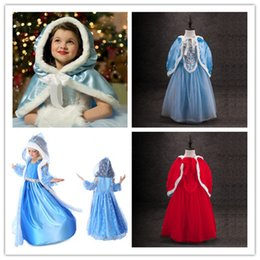 Wholesale Lace Beading Wholesale - 2016 3styles Girls Fairy Princess Dress sets fur gauze cloak+dress lace dress ribbon bowknot kids performance party festival Xmas dress