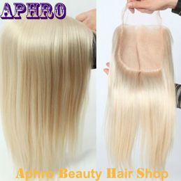 Wholesale Straight Closure Density - Premium Human Hair Platinum Blonde Silk Base Lace Closure For White Women 130%Density White Brazilian Virgin Hair Lace Frontal Closure
