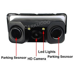Wholesale Rear View Backup System - New 2in 1 Sound Alarm Automobile Parktronic System Radar Detector Parking Sensor With HD Car Reverse Backup LED Rear View Camera
