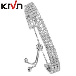 Wholesale Bridal Tennis Bracelet - KIVN Fashion Jewelry Adjustable Pave CZ Cubic Zirconia Women Girls Tennis Wedding Bridal Bracelets Promotion Birthday Gifts