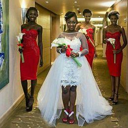 design linha de barco rendas vestidos de noiva Desconto Plus Size vestido de casamento de alta Low bainha curto vestidos de noiva de renda com trem destacável Sheer Bateau pescoço mangas compridas Backless Design