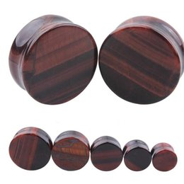 Wholesale 12mm Ear Expander - 1PC Ear Expander Tiger's Eye Natural Organic Stone Earring Ear Plugs Tunnels Gauges 5-12mm