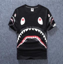 Wholesale Man Fund - Men's Clothing Wear Tide Brand Shark Mouth Printing Men Women Lovers Fund Round Neck Short Sleeve T shirt for Pity t-shirt fashion tshi