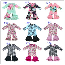 Wholesale Cotton Striped Pajamas - 73 Color Twins Cotton floral Ruffle romper baby boy and girl sleeper romper outfit ruffled night Gown Pajamas Halloween christmas gifts 2018