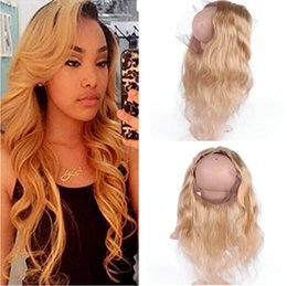 Wholesale Russian Body Wave Hair - #27 Honey Blonde 360 Lace Frontal Closure Pre Plucked Body Wave Russian Hair Strawberry Blonde Full Frontals 360 Band Lace Closure 22.5x4x2